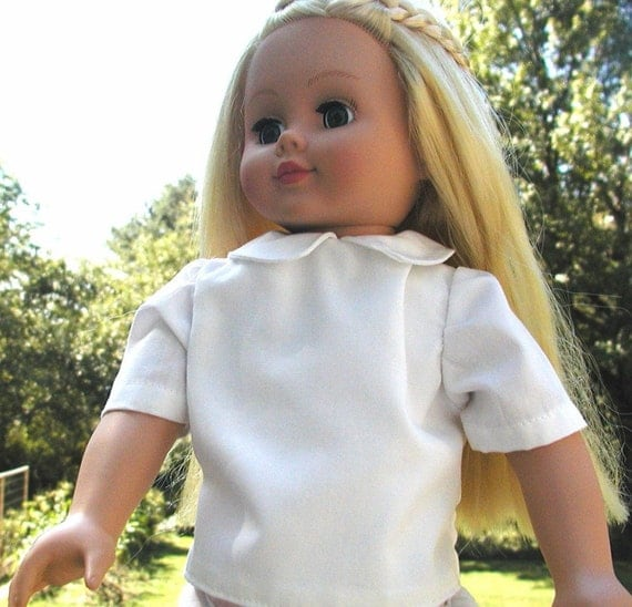 Doll's White Blouse for School