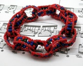 DISCONTINUING Beaded Bracelet - Chain Links  - Red, Green, and Blue by randomcreative on Etsy