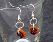 Button Dangle Earrings Orange Brown by randomcreative on Etsy