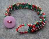 Beaded Skinny Cuff Bracelet - Spring Garden Green Purple Red by randomcreative on Etsy