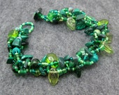 Beaded Bracelet - Green Rock Garden Spring Leaves by randomcreative on Etsy