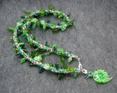 Beaded Wrap Bracelet Necklace - Intertwining Green Leaves by randomcreative on Etsy