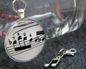 Music Charms Set - Set of Two (2) - One (1) Glass Charm, (1) One Metal Charm by randomcreative on Etsy