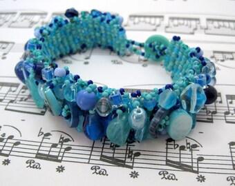 Beaded Cuff Bracelet - Embellished - Turquoise Blue by randomcreative on Etsy
