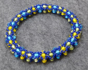 Beaded Bangle Bracelet - Blue Yellow Green by randomcreative on Etsy