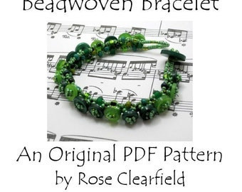 PDF Beading Pattern Tutorial - Button Embellished Beadwoven Bracelet - For Personal Use by randomcreative on Etsy