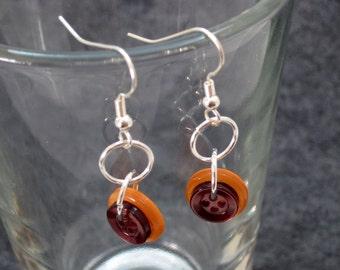 Button Dangle Earrings Orange Brown by randomcreative on Etsy