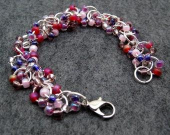 Beaded Bracelet - Silver Links - Girly Pink Magenta Purple by randomcreative on Etsy