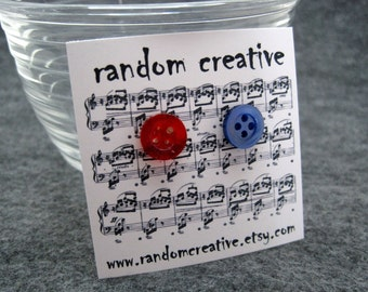 Button Post Stud Earrings - Fourth of July (red, blue) by randomcreative on Etsy