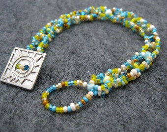 Beaded Bracelet - Beach Simplicity Yellow Turquoise Blue Sand Brown by randomcreative on Etsy