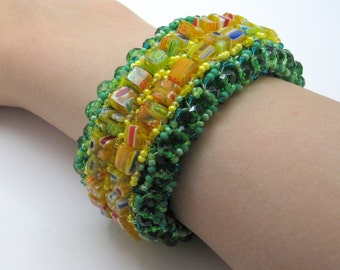 Beaded Cuff Bracelet - Lion on the Yellow Brick Road Yellow Green Statement Jewelry by randomcreative on Etsy