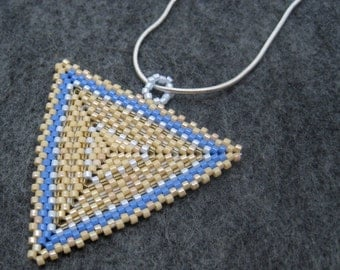 Beaded Pendant Necklace - Peyote Triangle - Champagne Party Beige Blue by randomcreative on Etsy