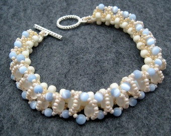 Beaded Bracelet - Something Blue Bridal Light Blue Champagne Light Brown by randomcreative on Etsy