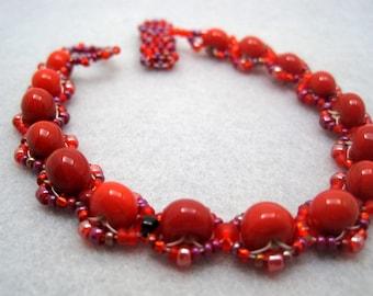 Beaded Bracelet - Red by randomcreative on Etsy