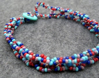 Beaded Bracelet - Colorful Purple Red Blue Casual Fun by randomcreative on Etsy