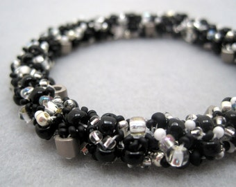 Beaded Bangle Bracelet - Black and Silver by randomcreative on Etsy