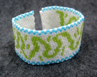 SALE Beaded Cuff Bracelet - Winding Road with Checked Border Turquoise Blue Lime Green White by randomcreative on Etsy