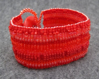 Beaded Cuff Bracelet - Red Striped Embellished by randomcreative on Etsy