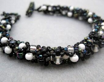 Beaded Bracelet - Black and White by randomcreative on Etsy