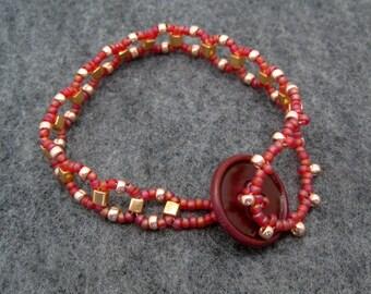 Beaded Bracelet - Raspberry and Gold by randomcreative on Etsy