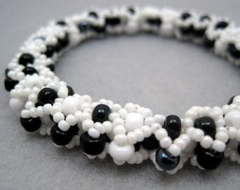 Beaded Bangle Bracelet - White and Black Diamonds by randomcreative on Etsy