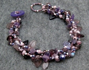 Beaded Bracelet - Purple Rock Garden Leaves Glass Beads Simple by randomcreative on Etsy