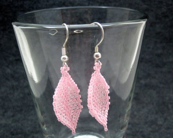 Beaded Dangle Earrings - Pink Leaves by randomcreative on Etsy