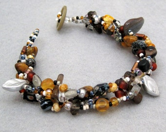 Beaded Bracelet - Neutral Black Brown Silver Rock Garden by randomcreative on Etsy