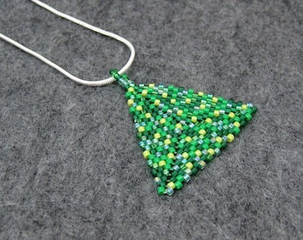 Beaded Pendant Necklace - Peyote Triangle - Spring Green by randomcreative on Etsy