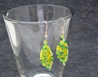 Beaded Dangle Earrings - Indian Summer Leaves Yellow Light Green by randomcreative on Etsy