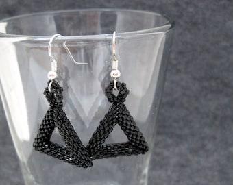 Beaded Dangle Earrings - Peyote Tubular Triangles - Black by randomcreative on Etsy