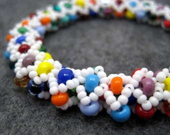 Beaded Bangle Bracelet - Dreaming of Hawaii Multicolored Bright Rainbow Colorful by randomcreative on Etsy