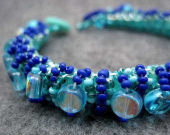 Beaded Cuff Bracelet - Skinny Turquoise Dark Blue by randomcreative on Etsy