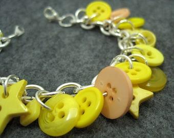 Button Charm Bracelet - Yellow by randomcreative on Etsy