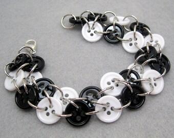 Button Bracelet - Black and White (small) by randomcreative on Etsy