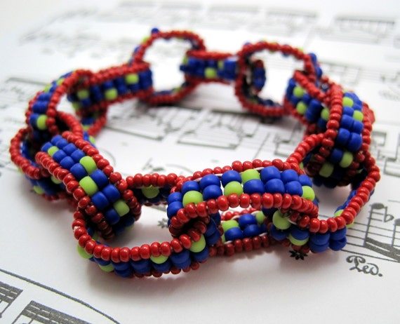 DISCONTINUING Beaded Chain Links Bracelet - Chain Links - Red Blue Lime Green Statement Piece by randomcreative on Etsy
