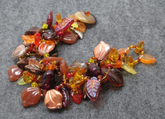 Beaded Bracelet - The Leaf Series - Fall Autumn Leaves by randomcreative on Etsy