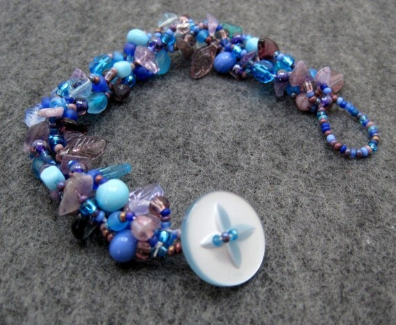 Beaded Bracelet - Blue Purple Rock Garden by randomcreative on Etsy