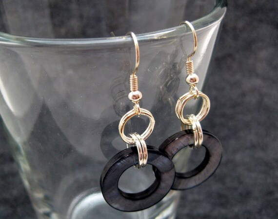 Silver Dangle Earrings - Black Shell by randomcreative on Etsy