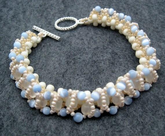 Beaded Bracelet - Something Blue Bridal Light Blue Champagne Light Brown by randomcreative on Etsy