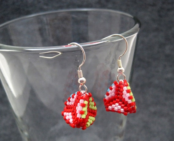 Beaded Dangle Earrings - Peyote Tetrahedrons - Bright Multicolored Red Lime Green Turquoise Blue Pink by randomcreative on Etsy