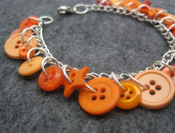 Button Charm Bracelet - Orange by randomcreative on Etsy