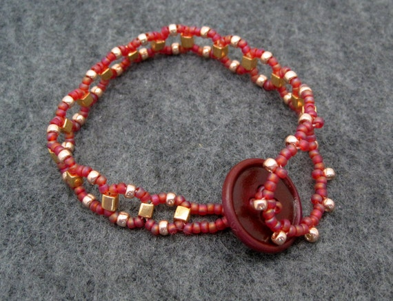 Beaded Bracelet - Raspberry and Gold by randomcreative on Etsy