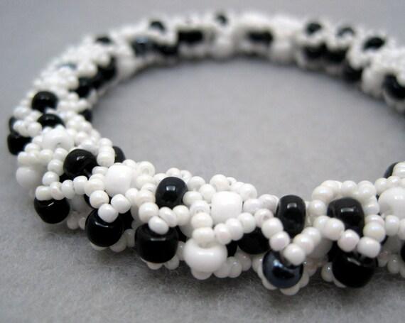 Beaded Bangle Bracelet - White and Black Diamonds by randomcreative on Etsy