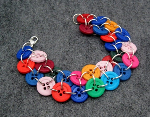 Button Bracelet - Multicolored Rainbow II by randomcreative on Etsy