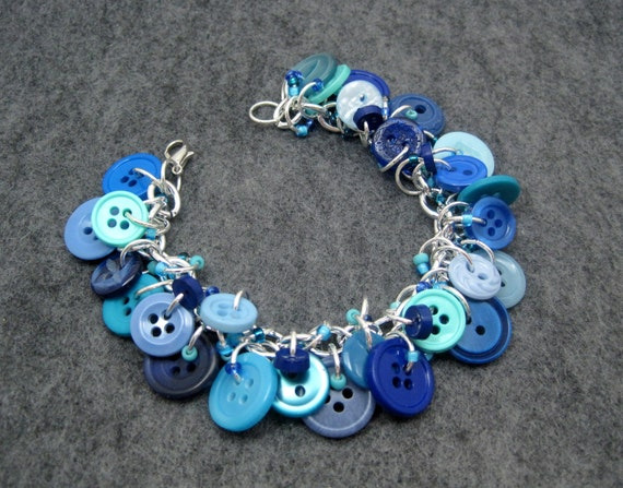 Blue Button Charm Bracelet / Light Turquoise Navy Dark Blue Jewelry / Simple Fun Piece by randomcreative on Etsy