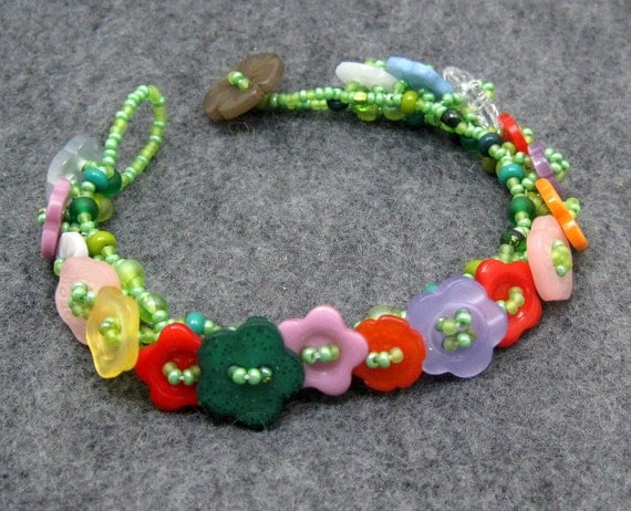 Beaded Bracelet - Button Embellished - Flower Garden Bright Multicolored by randomcreative on Etsy