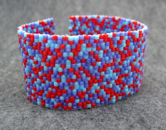 SALE Beaded Cuff Bracelet - Color Explosion II Red Turquoise Blue Purple by randomcreative on Etsy
