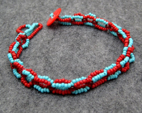 Beaded Bracelet - Turquoise Blue and Red by randomcreative on Etsy