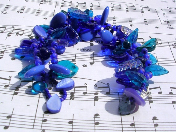 Beaded Bracelet - The Leafy Series - Dark Blue by randomcreative on Etsy